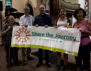 Ann Milner and other CAFOD supporters walking the LOOP to Share the Journey
