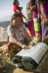 distribution of blankets in Gorkha district in Nepal.