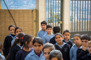 Syrian refugee children at school
