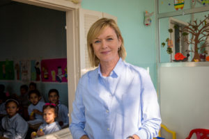Julie visiting the school.