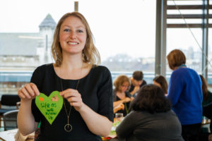 CAFOD staff with green hearts for Show The Love.