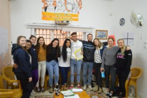 Gap year volunteers meet with volunteers at Sadaka Reut