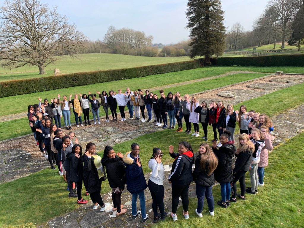 Students at St Cassian's creating a zero as part of CAFOD's Zero Hero campaign