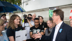 Emma Gallagher meets MP Jonathan Lord at The Time is Now mass lobby