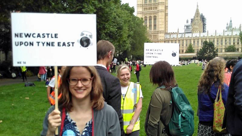 Climate campaigner from Newcastle-upon-Tyne waits to meet her MP at the mass lobby