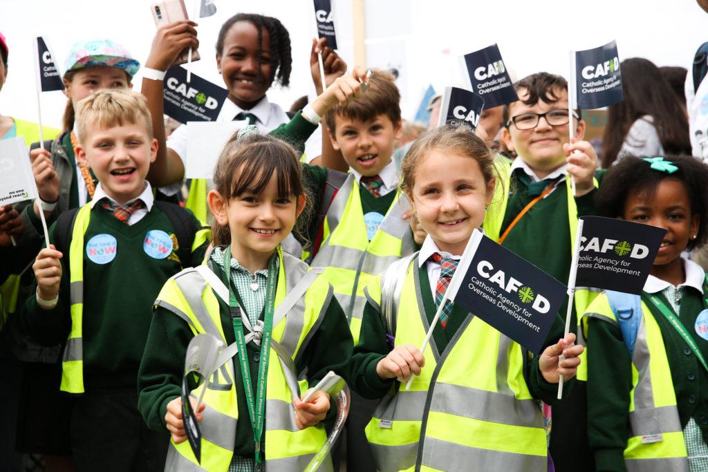 Schoolchildren waiting to speak to their MP