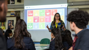 Susan introducing the Sustainable Development Goals to students at Palmer Catholic Academy.