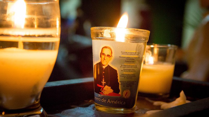 Candle featuring Saint Oscar Romero