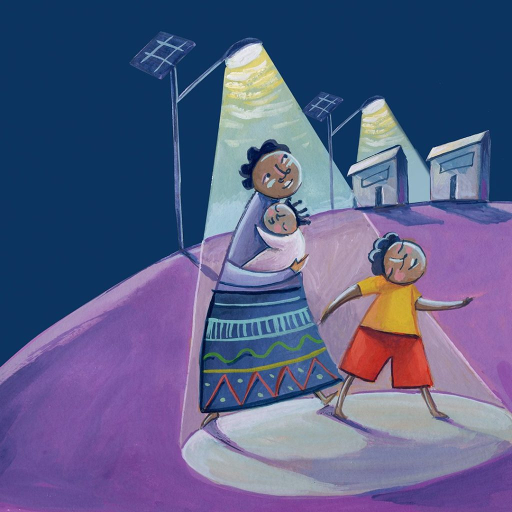 Super solar streetlight World Gifts illustration