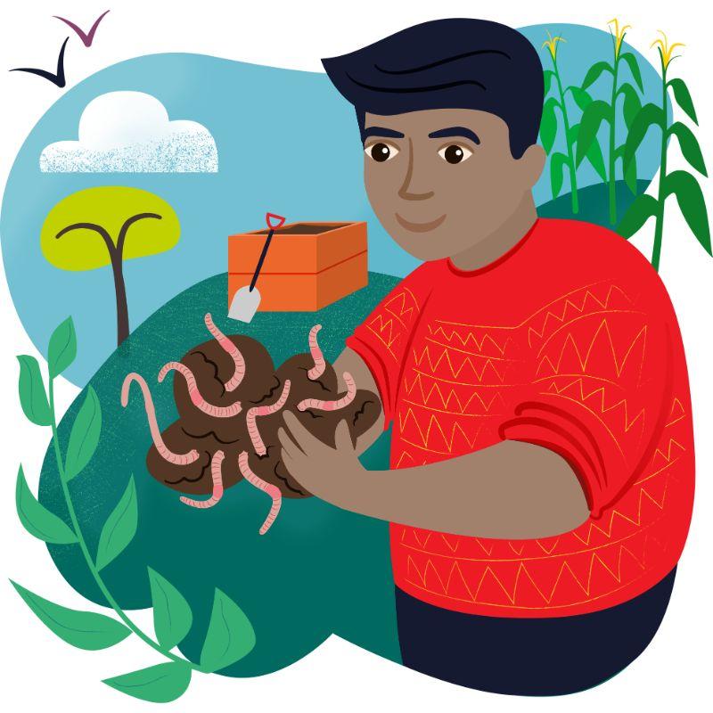 Wonderful worms illustration
