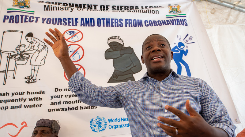 Kayode addresses attendees of a COVID-19 awareness training for religious leaders at CAFOD's office in Freetown