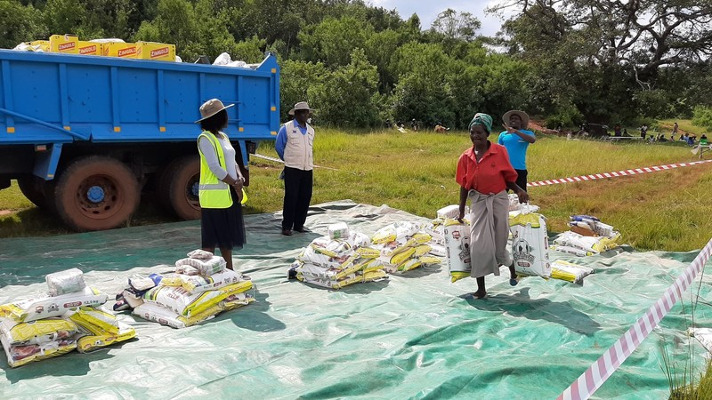 Distributing food to vulnerable communities in Zimbabwe