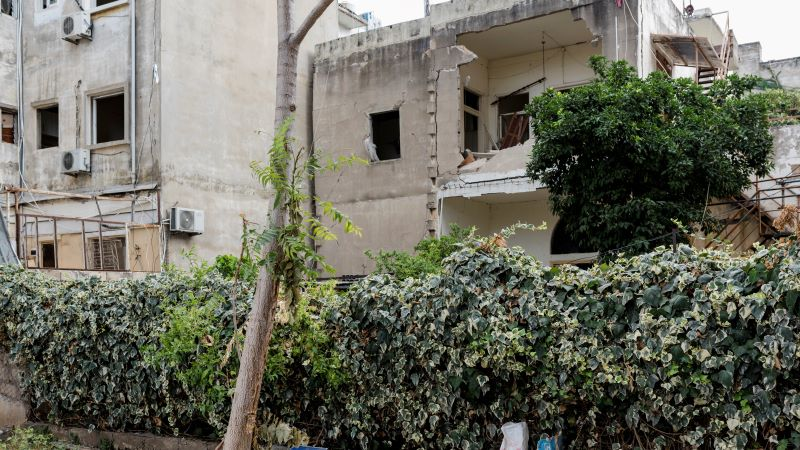 The outside of a damaged home in Beirut