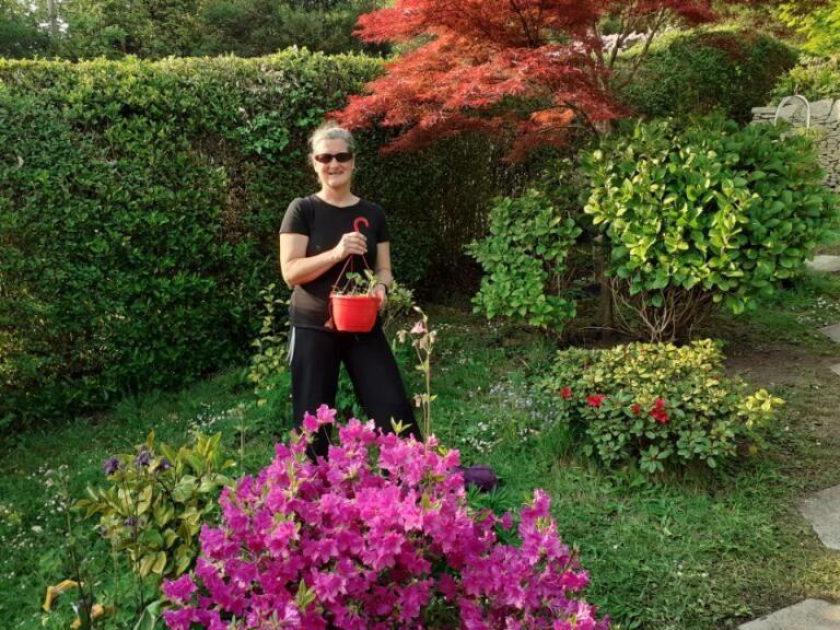 Helena in her garden