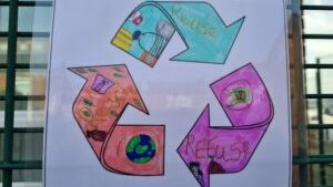 The children created artwork as part of their Go Green Challenge